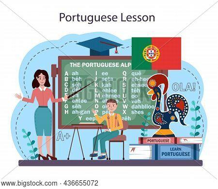 Portuguese Language Learning Concept. Language School Portuguese Course