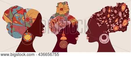 Silhouette Faces In Profile African Or African American Women With Ethnic Or Tribal Hair Decorations