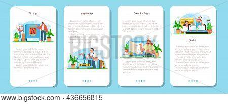Book Binding Mobile Application Banner Set. Printing House Techonology