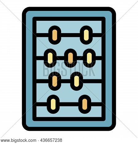 Wood Calculator Icon. Outline Wood Calculator Vector Icon Color Flat Isolated