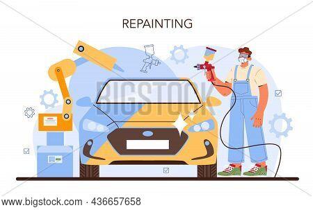 Car Service. Mechanic In Uniform Paint A Body Of Vehicle.