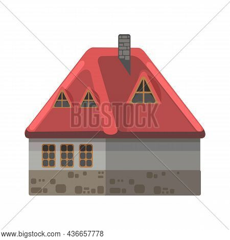 Small Country House With Gpay Stone Walls And Red Roofs. Funny Cartoon Style. Country Suburban Villa