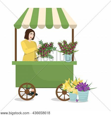 Spring Vector Illustration Of A Counter With Flowers And Sellers Holding A Bouquet, Isolated On A Wh