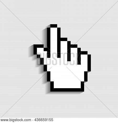Hand Cursor Icon. Finger - Pointer Of Mouse. Pixel Icon In Form Hand Cursor For Click In Web, Comput