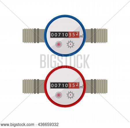 Water Meter. Icon Of Counter Of Gas, Heat, Hot And Cold Water. Meter Of Consumption. Use And Measure