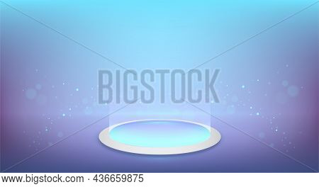 Round Podium Scene, Futuristic Style Mock Up. Round Glow Platform On The Floor. Vector Product Prese