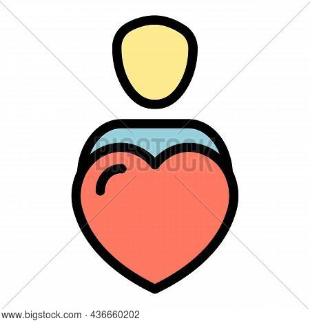 Like Friend Avatar Icon. Outline Like Friend Avatar Vector Icon Color Flat Isolated