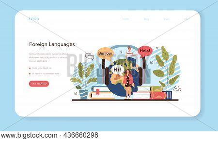 Language School Web Banner Or Landing Page. Professor Teaching