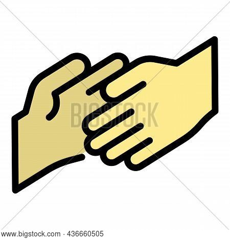 Friend Hand Help Icon. Outline Friend Hand Help Vector Icon Color Flat Isolated