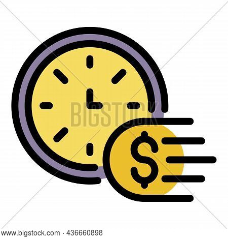 Fast Money Transfer Icon. Outline Fast Money Transfer Vector Icon Color Flat Isolated