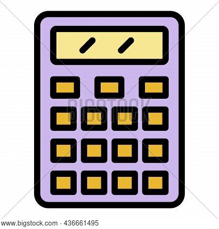 Money Calculator Icon. Outline Money Calculator Vector Icon Color Flat Isolated