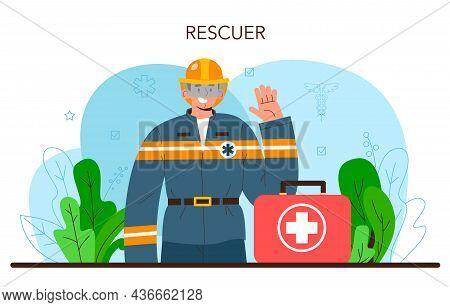 Rescuer. Emergency Help, Ambulance Lifeguard In Uniform Assisting