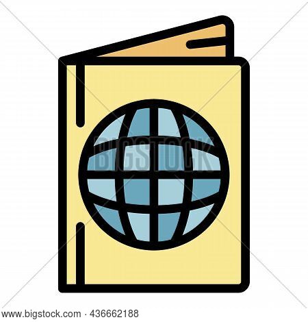 Passport Icon. Outline Passport Vector Icon Color Flat Isolated