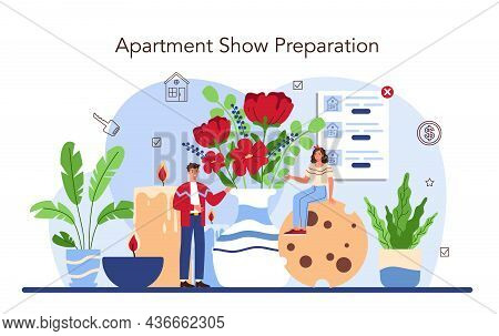 Real Estate Industry. Real Estate Agent Presenting A House Or Apartment