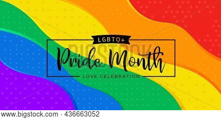 Lgbtq Pride Month Text On Abstract Rainbow Pride Flag Texture Background Vector Design