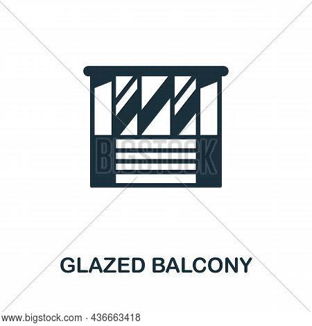 Glazed Balcony Icon. Monochrome Sign From Balcony Collection. Creative Glazed Balcony Icon Illustrat