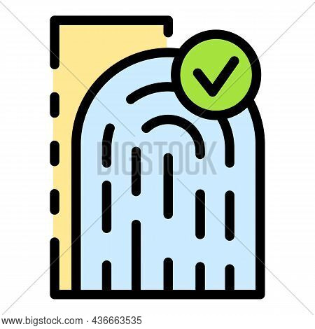 Fingerprint Approved Icon. Outline Fingerprint Approved Vector Icon Color Flat Isolated