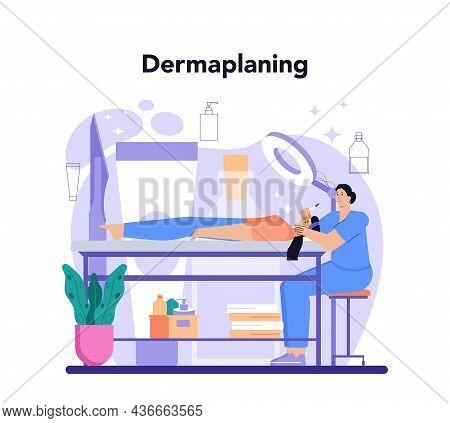 Salon Dermaplaning Procedure. Cosmetology Face Shaving Procedure