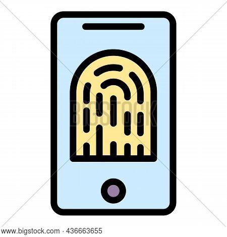 Smartphone Fingerprint Identification Icon. Outline Smartphone Fingerprint Identification Vector Ico