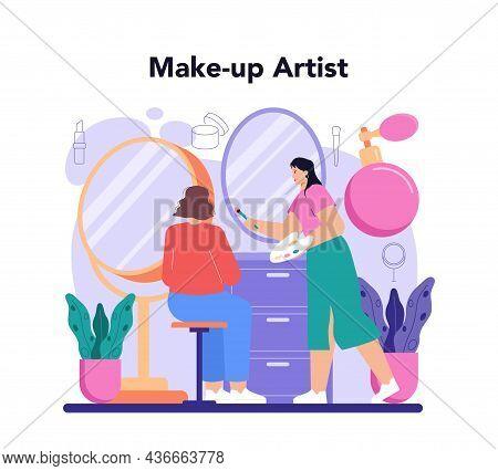 Make Up Artist Concept. Professional Artist Doing A Beauty Procedure