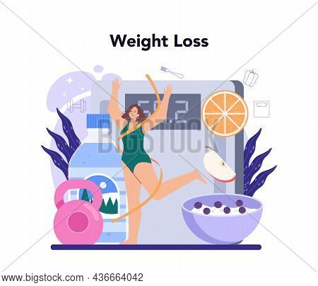 Slimming Process. Person Losing Weight With Fitness Exercise And Healthy