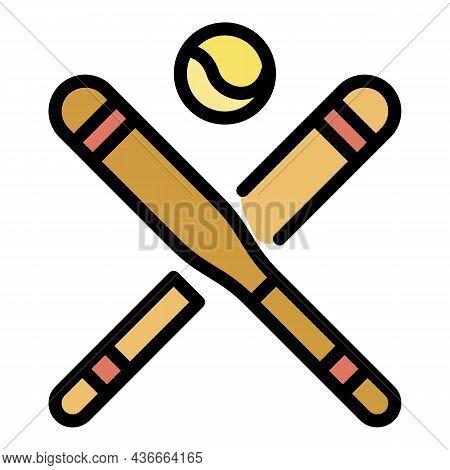 Baseball Bat Icon. Outline Baseball Bat Vector Icon Color Flat Isolated