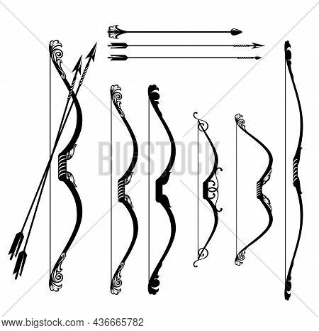 Fairy Tale Elf Archer Bow And Arrows Design Set - Vector Weapon Decorative Outline Collection