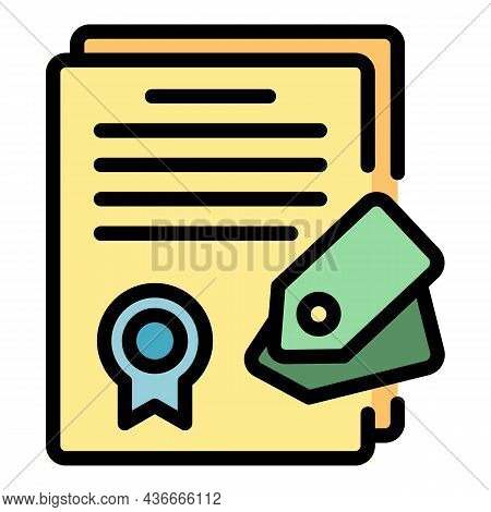 Diploma Campaign Icon. Outline Diploma Campaign Vector Icon Color Flat Isolated