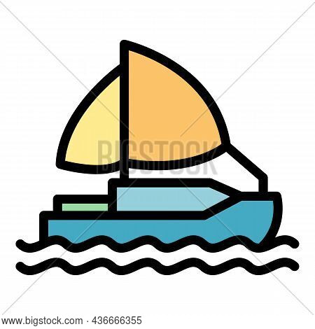 Relocation Ship Icon. Outline Relocation Ship Vector Icon Color Flat Isolated