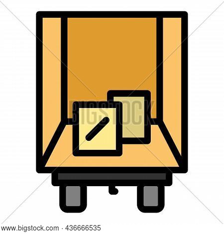Truck Box Relocation Icon. Outline Truck Box Relocation Vector Icon Color Flat Isolated