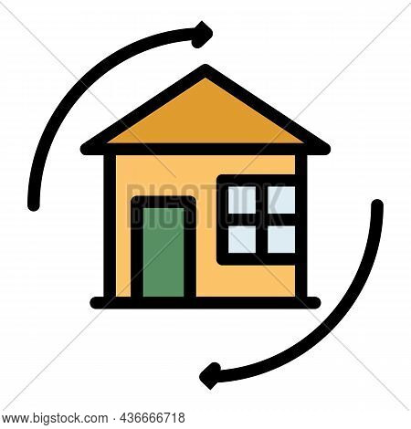House Relocation Icon. Outline House Relocation Vector Icon Color Flat Isolated