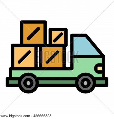 Truck Relocation Icon. Outline Truck Relocation Vector Icon Color Flat Isolated