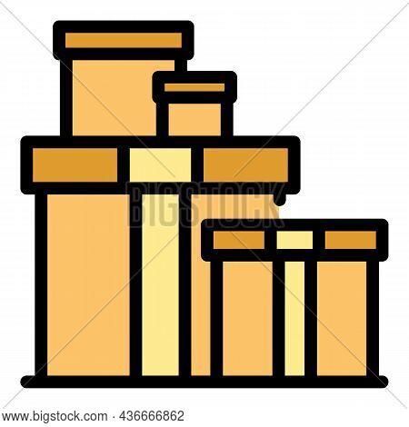 Carton Relocation Box Icon. Outline Carton Relocation Box Vector Icon Color Flat Isolated