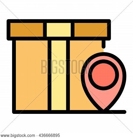 Parcel Location Icon. Outline Parcel Location Vector Icon Color Flat Isolated