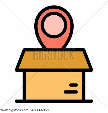 Box Relocation Icon. Outline Box Relocation Vector Icon Color Flat Isolated