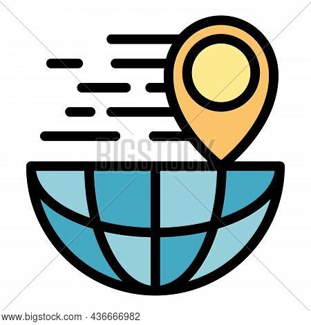 Location Global Parcel Icon. Outline Location Global Parcel Vector Icon Color Flat Isolated