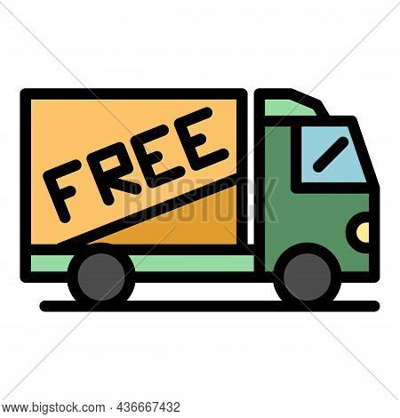 Free Parcel Delivery Icon. Outline Free Parcel Delivery Vector Icon Color Flat Isolated