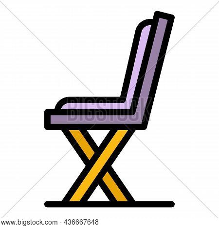 Street Bench Side View Icon. Outline Street Bench Side View Vector Icon Color Flat Isolated