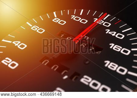 Car Speedometer With The Needle Pointing A High Speed At Blackground, Speedometer With A Red Arrow I