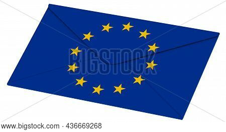Closed Envelope With European Union Flag. One Closed White Envelope With The Flag Of European Union