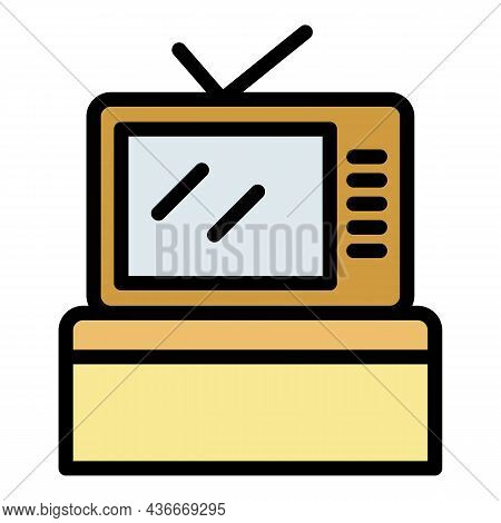 Cooking Show Tv Icon. Outline Cooking Show Tv Vector Icon Color Flat Isolated