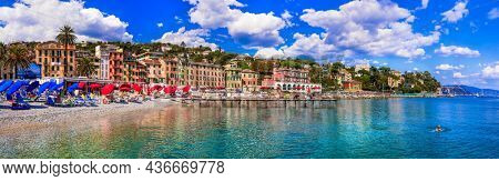 most beautiful coastal towns of Italy -Santa Margherita Ligure in Liguria, Panoramic view with colorful houses and nice beach. Sep.2021