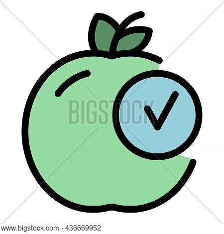 Approved Apple Icon. Outline Approved Apple Vector Icon Color Flat Isolated
