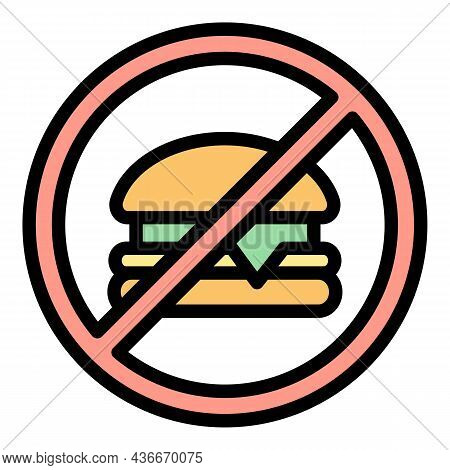 No Fast Food Icon. Outline No Fast Food Vector Icon Color Flat Isolated
