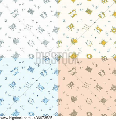 Set Of Seamless Patterns With Doodle Linear Icons. Printing Of Finished Photos. Camera, Film, Memory