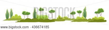Rural Summer Beautiful Landscape. Plain With Trees And Shrubs On Horizon. Cartoon Style. Romantic Be