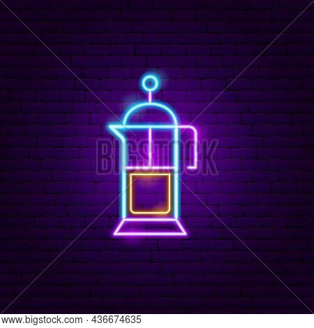 Coffee Kettle Neon Sign. Vector Illustration Of Drink Promotion.