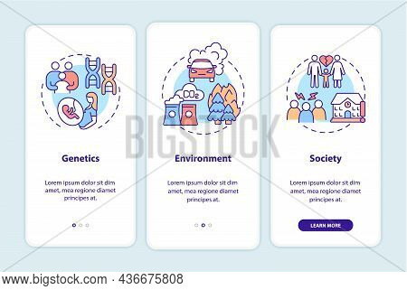 Adhd Causes Onboarding Mobile App Page Screen. Genetics And Environment Walkthrough 3 Steps Graphic