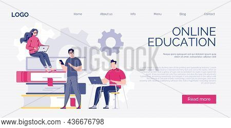 Banner, Web Page Templates. Vector In Flat Style. E-learning, Online Education, E-book. Dictionary,