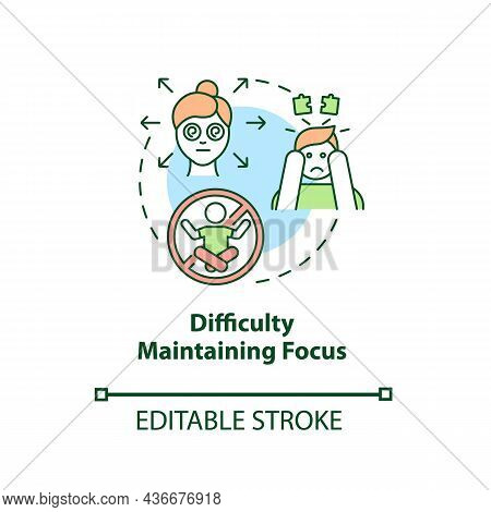 Difficulty Maintaining Focus Concept Icon. Inattentive Symptom Abstract Idea Thin Line Illustration.